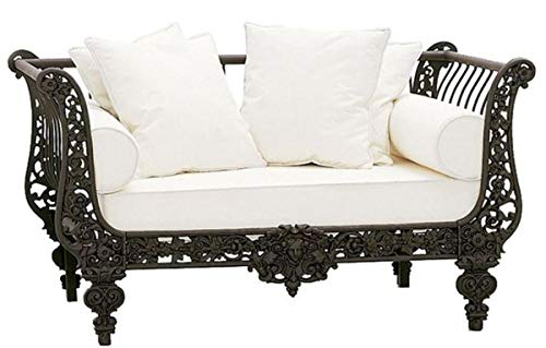 Casa Padrino sofá Barroco de Lujo marrón Oscuro/Blanco 137 x 87 x A. 77 cm - Sofá de Hierro Forjado Forjado a Mano con Cojines - Sofá de Salón - Sofá de Jardín - Sofá de Patio - Muebles Barrocos