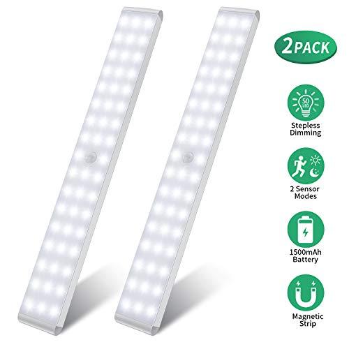 Luz Nocturna, 50 LEDs Led Armario con Sensor de Movimiento Recargable 4 Modos con Cinta Adhesiva Magnética para Armario, Pasillo, Estantería, Escalera
