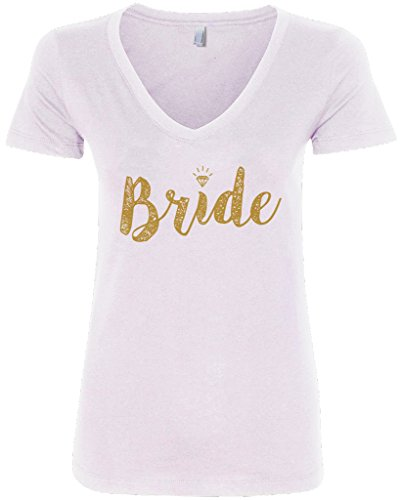 Threadrock Women's Bride Gold Script V-Neck T-Shirt L White
