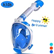 OUSPT Full Face Snorkel Mask, Snorkeling Mask with Detachable Camera Mount, Seaview 180° Upgraded Dive Mask with Newest Breathing System, Dry Top Set Anti-Fog Anti-Leak for Adult Kids