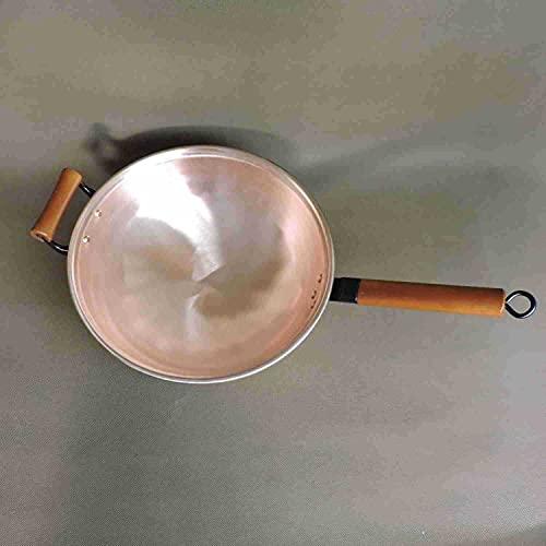 Wok Wok in puro rame non rivestito con manico in legno (32 cm)