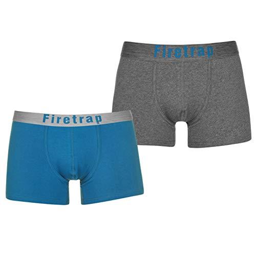Firetrap Uomo Boxer Pantaloncini Biancheria Conf. da 2 Carbone mélange/Blu XL