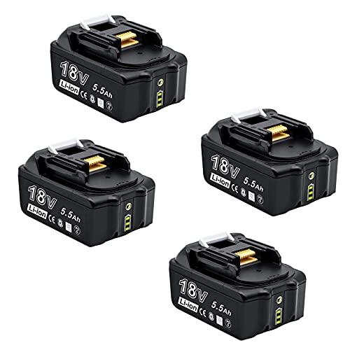akku 18v ersatzakku Makita 5.5Ah BL1855 Makita 18V Akku 5500mAh Große Kapazität Li-ion Kompatibel BL1860B, BL1850, BL1840, BL1830, BL1820B, BL1815,Akku für Makita Elektrowerkzeuge