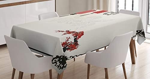 ABAKUHAUS Linterna Mantele, Minimalista Año Nuevo, Resistente al Agua Lavable Colores No Destiñen Personalizado, 140 x 200 cm, Negro Rojo Blanco