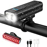 TOOLTOO Bike Lights Set Rechargeable - 1600 Lumen Bright Bicycle Lights Front and Back with Power Bank Function - Led Bike Headlight and Taillight 5 Light Mode fits All Bicycles for Road Mountain