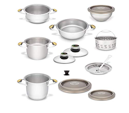Zepter Masterpiece CookArt Cooking Set – 18 Pieces – Steam Cooking Quick Cooking Temperature Regulator Pressure Cooker System for Scepter Pots