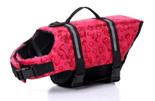 Surblue Dog Life Jacket Flotation Vest Saver Swimsuit Preserver Pet Adjustable Safety Coat for Water Safety at The Pool, Beach, Boating,Swimming (Medium, Pink)