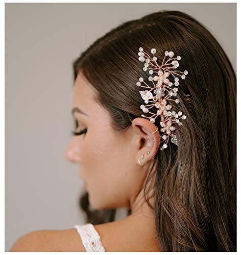 SWEETV Rose Gold Braut Haarkamm Clip - Kopfschmuck Hochzeit Haarschmuck für Frauen, Mädchen, Braut