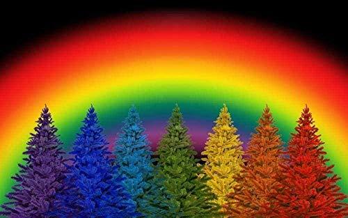 FNBN DIY Pintar por números para Adultos e niños al óleo número Arco Iris Colorido Pino árbol Boda 40X50