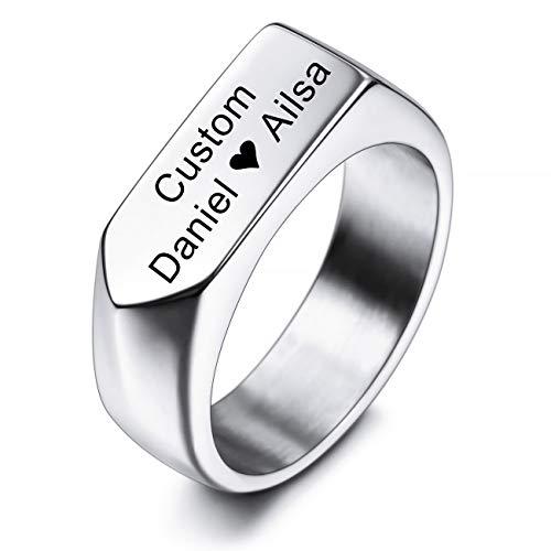 MeMeDIY Personalisierte Pfeil Siegel Design Ringe Gravur Name Datum Symbole Ringe für Männer Frauen Jungen Mädchen Edelstahl Ehering Ring Schmuck (Silber)