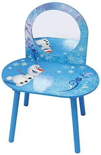 Kinderklemmtisch, animierter Kindern-Make-up-Tisch mit einem Hocker, der 3 Jahre lang geeignet ist, mit ungiftiger Sicherheit,Blue