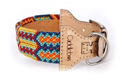 Cuddleboy Premium Hundehalsband aus Leder für große Hunde 40-51cm / Viele Variationen / Handmade Design Wayuu Lederhalsband (Hell/ Bunt2)
