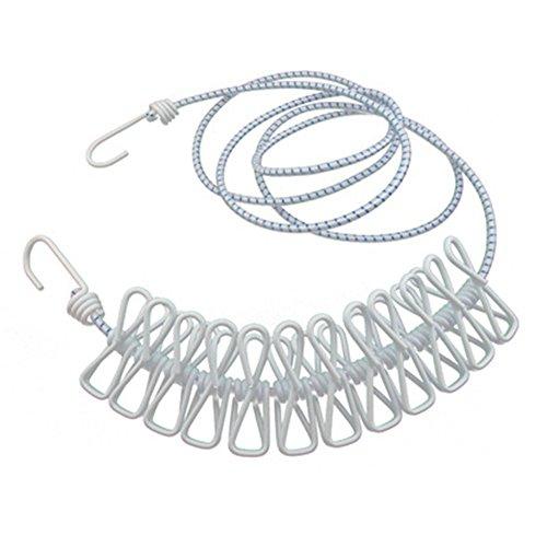 Zedtom - Corde à linge flexible avec 12 pinces à linge et deux crochets - Idéal pour les voyages et le camping
