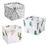 N-K PULABO 3 piezas de almacenamiento armario caja de juguetes contenedor organizador de tela de algodón lino tela de escritorio cestas de almacenamiento de alta calidad conveniente