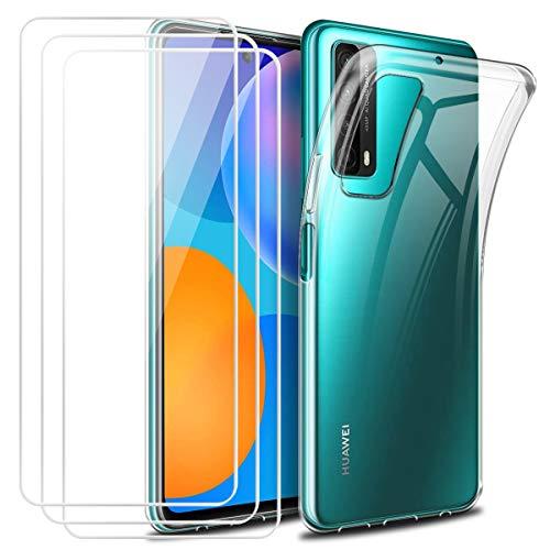 Reshias Funda para Huawei P Smart 2021 y 3 Pack Cristal Templado Protector de Pantalla,Suave TPU Transparente Gel Silicona Anti-arañazos Protectora Carcasa para Huawei P Smart 2021