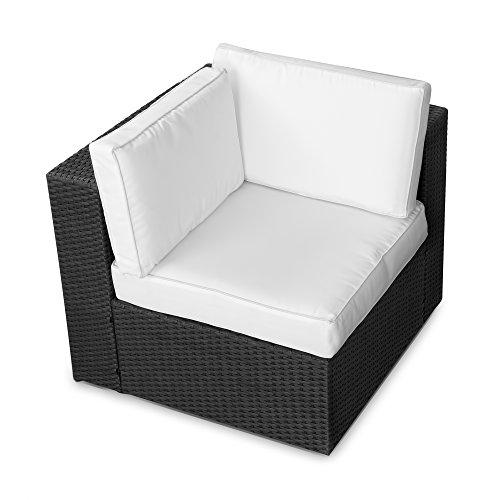 XINRO® (1er Polyrattan Lounge Eck Sessel - Gartenmöbel Ecksessel Rattan - durch andere Polyrattan Lounge Gartenmöbel Elemente erweiterbar - In/Outdoor - handgeflochten - schwarz