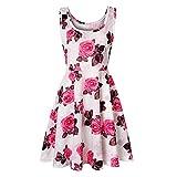 Liably Robe d'été à motif floral pour femme - Col rond - Sans armatures - Lignes A en tricot multicolore - Robe d'été, de fête élégante - Rose - Medium