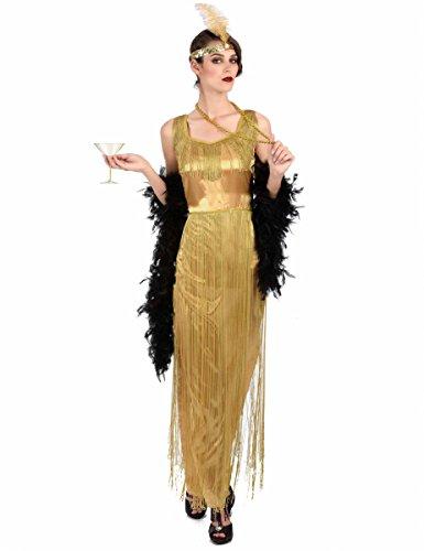 Generique - Disfraz Charlestón Dorado con Flecos Mujer