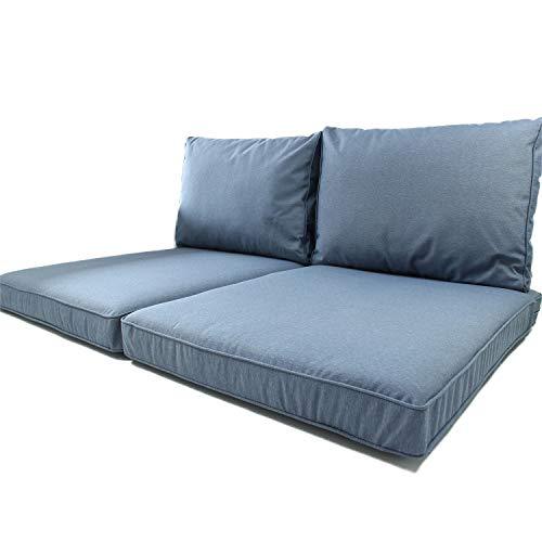 Nordje – Juego de Cojines para palets | Asiento de 120 x 80 cm y Respaldo | Apto para Exteriores, con Funda Repelente al Agua | Azul