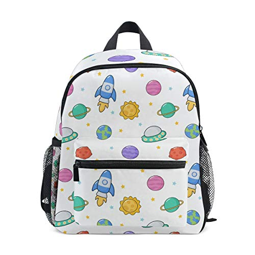 Cartoon Space Rocket Toddler Backpack Bookbag Mini Shoulder Bag for 1-6 Years Travel Boys Girls Kids with Chest Strap Clip Whistle