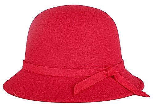 Targogo Targogo Mützen Glockenhut Damen Elegante Runde Mädchen Melone Hut Mit Bowtie Winter Filzhut Klassisch Bowler Hut 6 Farben Caps (Color : Rot, Size : One Size)