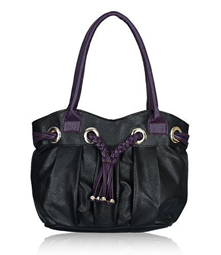 Fristo Black and Purple women handbag (FRB-024)(Black and Purple)
