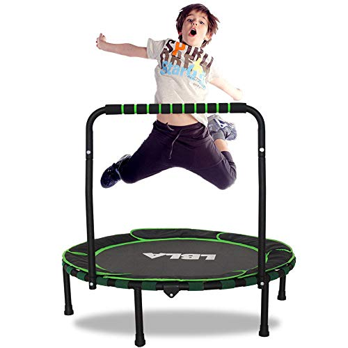 LBLA Trampoline for Kids 36' Foldable Kids Trampoline with Adjustable Handrail Safty Padded Cover Indoor/Outdoor Use for Children 3 4 5 6 7 8 9+Years Old