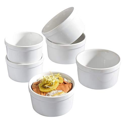 KVV Ceramics Ramekin Set Of 6 (6oz/ 200ml) Porcelain Souffle Dish Ramekins for Creme Brulee Pudding Oven Safe, Classic Style Ramekins Bowls for Baking(White set of 6)