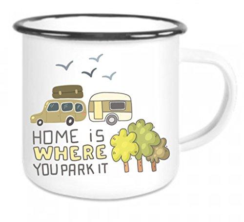 crealuxe Emaille Tasse mit Rand Home is Where Your Heart is - Kaffeetasse mit Motiv, Campingtasse Bedruckte Email-Tasse mit Sprüchen Oder Bildern