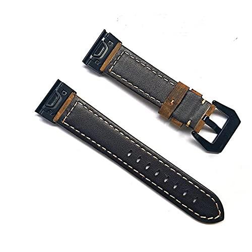 Reloj de alta calidad correa de cuero pulsera para Garmin Fenix 5 Fenix 5X negro/marrón disponible, Marrón, For Fenix 5,