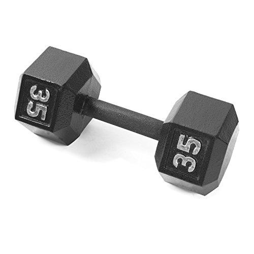CAP Barbell Cast Iron Hex Dumbbell, Black, Single, 35 lb