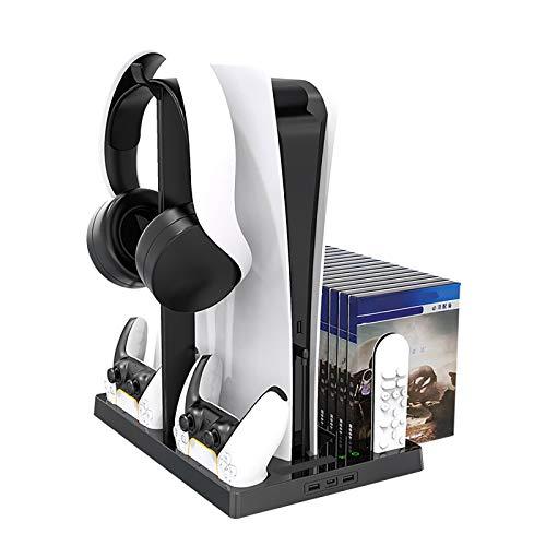 Soporte multifuncional para PS5 DE/UHD vertical con ventilador de refrigeración estación de carga con 2 controladores Dualsense