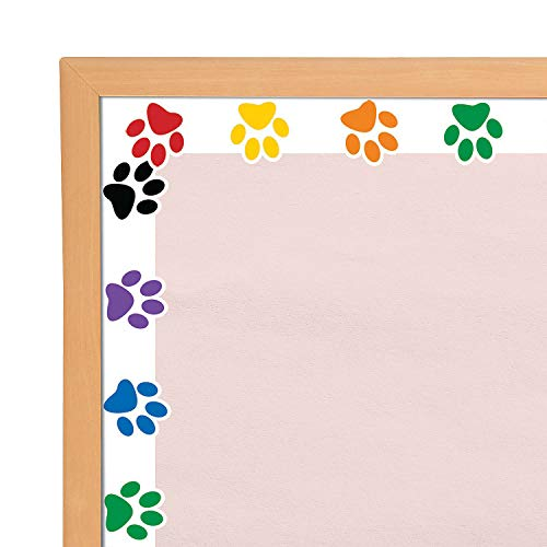 Fun Express Paw Print Bulletin Board Borders | 12 Count | Great for Children's Parties, Classroom Decorations, and School Activities