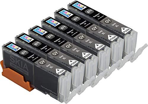 6 Gray Skia Ink Cartridges for Canon CLI-571 PGI-570 PIXMA MG7750 MG7751 MG7752 MG7753 TS8050 TS8051 TS8052 TS8053 TS9050 TS9055