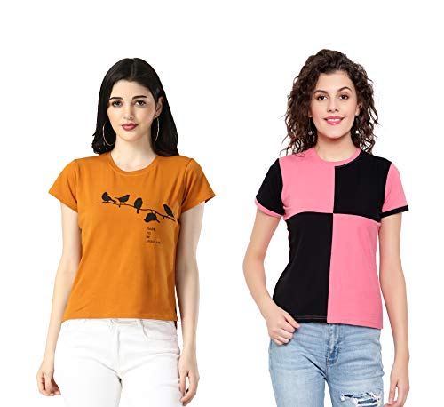 DHRUVI TRENDZ Women Printed Top with Half Sleeves for Office Wear, Casual Wear, Under 399 Top for Women/Girls Top(Pink&Turquoise)