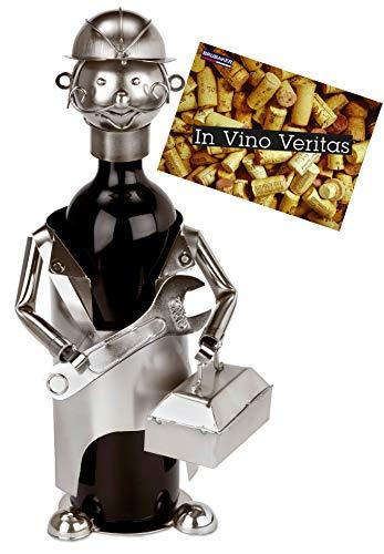BRUBAKER Weinflaschenhalter Mechaniker Monteur Installateur - Flaschenständer für Wein aus Metall mit Grußkarte