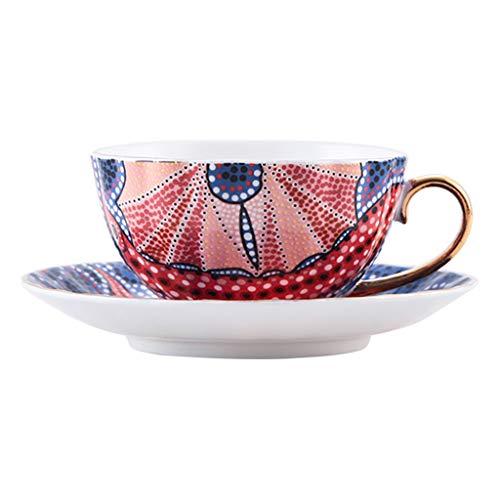 NYKK Taza de café Taza de café de cerámica del té de Tarde del té de Tarde de la Taza de té Negra de cerámica Europea del Estilo Taza de café Inglesa (Color : A)