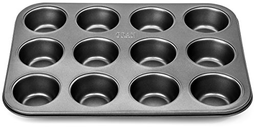 GRAN 12 Cup Nonstick Muffin Tin and Cupcake Pan - Carbon Steel Tray