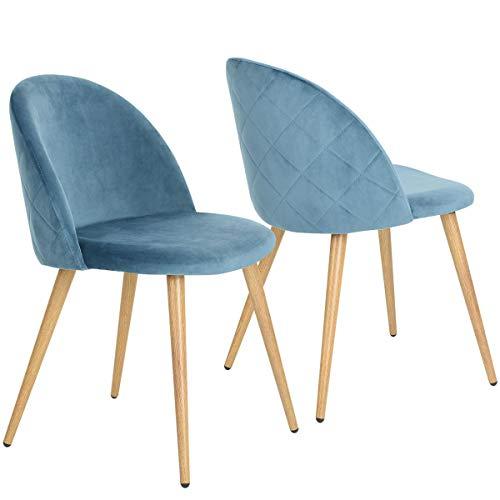 Coavas Esszimmerstühle Schmink Stühle Samt Weich Kissen Sitz und Rücken mit Holzbeinen Küchenstühle für ESS- und Wohnzimmer, Blau