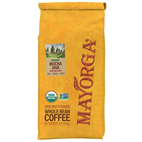 Mayorga Organics Mocha Java, 2lb Bag, Medium Roast Whole Arabica Bean Coffee, Specialty-Grade, USDA Organic, Non-GMO Verified, Direct Trade, Gluten Free, Kosher
