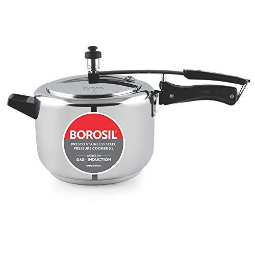Borosil Presto Induction Base Stainless Steel Pressure Cooker 5L