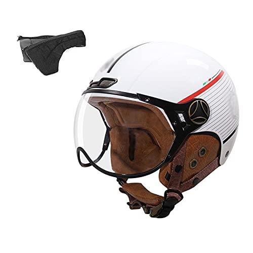 YAYT Medio Casco clásico de Motocicleta Abierta, Negro/Blanco/Bronce, con Gafas, Aprobado por Dot/ECE, Adulto Unisex, protección Solar de Verano, anticolisión, Casco de Moto Skate Bike (54-62cm)