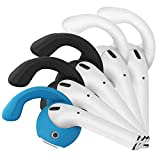 (5 Pack) G.P Ear Hooks and Covers Accessories Compatible with Apple AirPods 1 & AirPods 2 or EarPods Headphones/Earphones/Earbuds, New Version (2X White, 2X Black, 1x Blue)