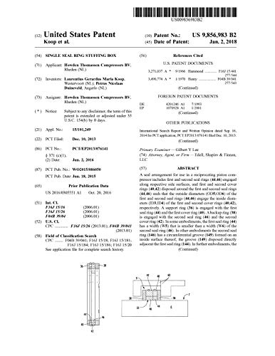 Single seal ring stuffing box: United States Patent 9856983 (English Edition)