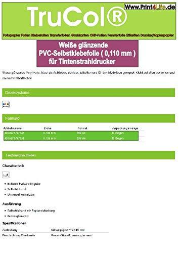 10 hojas de PVC blanco brillante autoadhesiva película A4 (0.100 mm) para...