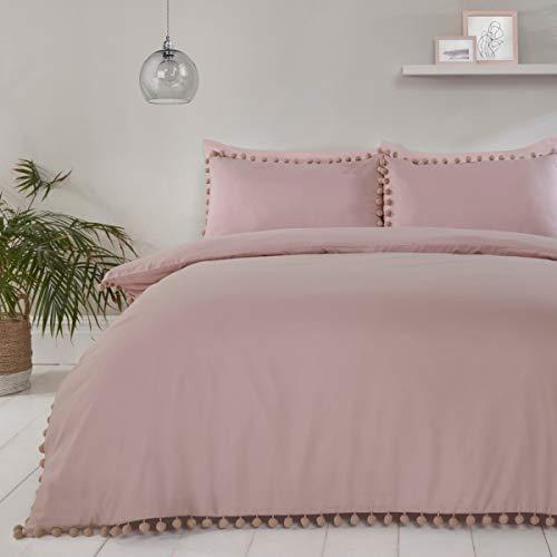 Sleepdown 5056242750451 Juego edredón y Funda de Almohada para Cama Individual (135 x 200 cm), diseño de pompón, Color Rosa, Poliéster, Suelto