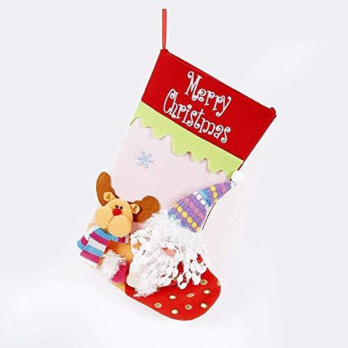 NLRHH Gestrickte Socken Weihnachtsmann Weihnachten Schneemann Ornamente verziert Geschenk Taschen Socken DIY (Farbe: A, Größe: 45 * 22cm) Peng (Color : A)