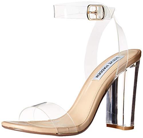 Steve Madden Women's Camille Heeled Sandal, Clear, 6