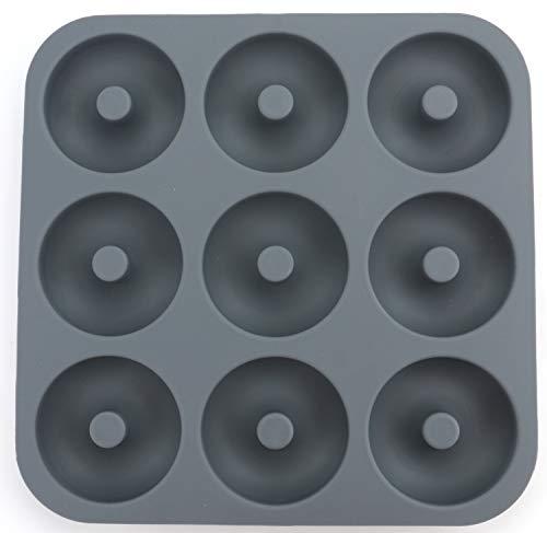 Lawei 9 Cavity Siliconen Donut Bakpan - 11,2 x 11,2 x 1,2 inch antiaanbakvorm, vaatwasmachine, magnetron, vriezer, ovenkluis