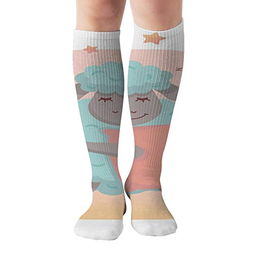 Little Pretty Sleeping Sheep Pillow Character The Arts Compression Socks Women & Men, Best Athletic & Medical Running Flight Travel Pregnant 19.68 Inch